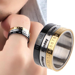 $enCountryForm.capitalKeyWord Australia - 8mm Stainless Steel Cool Punk Spinner Male Date Time Calendar Rings Creative Rotatable 3 Part Roman Numerals Ring Mens Jewelry