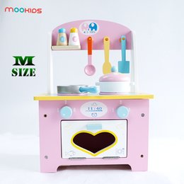 pretend toys Australia - Mookids Children Wooden Kitchen Cooking Set Pretend Play Toy Cute Pink Mini Kitchen Learning & Education Wooden Cooking Set Toy SH190907