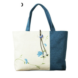 Flowered Hand Bags Australia - China National Style Women Bags Hand Painted Flower Shoulder Bag Fashion Cotton Linen Women Handbags Pt935