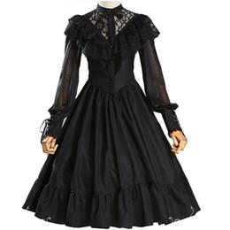 $enCountryForm.capitalKeyWord Australia - Adult Women Gothic Costume Lace Hollow Bridal Wedding Party Embroidery Dress Lolita Princess Sweet A Line Dress Veil For Ladies