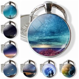 star domes NZ - 2019 Wonderful and Beautiful Nature Jewelry Keyrings Nebula Glass Dome Pendnat Keychain Best Gift for Girl Women