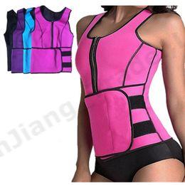 Heating belts online shopping - Womans Body Shaper Women Slimming Vest Thermo Fitness Trainers Neoprene Sauna Heat Vest Adjustable Waist Belt Body Zipper Shapewear A42307