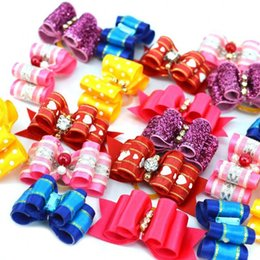 $enCountryForm.capitalKeyWord Australia - Cute & Funny Colorful 10 PCS Puppy Pet Dog Rhinestone Hair Bow With Rubber Bands Grooming Hair Clip Accessories Pets Decoration