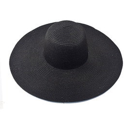 Discount hats for big heads - Casual Vacation Travel Wide Brimmed Sun Hats Summer Fashion Floppy Straw Hats Foldable Beach For Women With Big Heads
