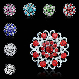 red flower corsage brooch UK - Crystal Rose Brooch Heart Flowers brooches pins Boutonniere Stick Corsage jewelry for Men Women Jewelry 170265