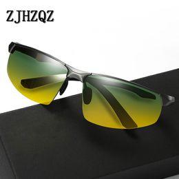 Frames aluminium online shopping - New Aluminium Magnesium Frame Polarized Day And Night Vision Sunglasses Mens Driving Fishing Sunglasses Green Yellow Lens UV400