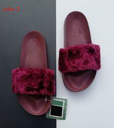 Faux Fur Booties Women Australia - Leadcat Fenty Rihanna Faux Fur Slippers Women Girls Sandals Fashion Scuffs Black Pink Red Grey Blue Fenty Slides Designer Slippers