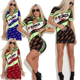 Tight Sport Shorts Women Australia - Women FF Letter Zipper Skirt Summer Tight Skinny Slim Dresses Casual Bodycon Party Sports Casual T shirt Dress Short Sleeve S-3XL A4803