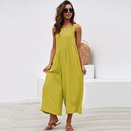 Womens Jumpsuits Australia - 2019 Summer Jumpsuit Overalls for Women Solid Sleeveless Back Hollow Out Streetwear Loose Wide Leg Rompers Womens Jumpsuit
