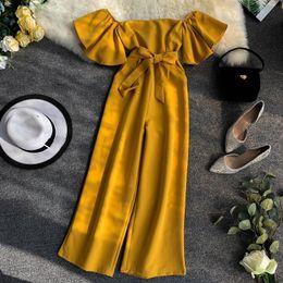 $enCountryForm.capitalKeyWord Australia - Women Solid Color Short Flare Sleeve Lace-up Pocket Waist Slimming Wide Leg Jumpsuits Women Slash Neck Elegant Overalls E622 Y19060501