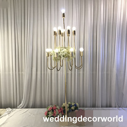 led wedding candelabras UK - European style iron LED light candlestick pillar tall crystal Glass candelabra candle holder wedding centerpieces decor0984
