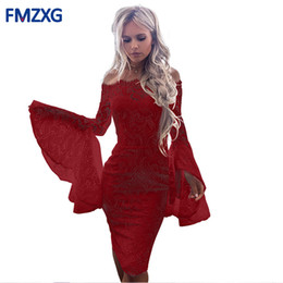 sexy red work dress UK - 2018 Sexy Cool Shoulder Design Band -aid Women White Flare Shell Top Dress Elegant Red Bodycon Cocktail Party Women's Dress Y19070901