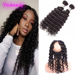 lace frontal pieces Australia - Brazilian Human Hair 2 Bundles With 360 Lace Frontal 3 Pieces One Lot Deep Wave Hair Extensions Natural Color 360 Frontal Pre Plucked