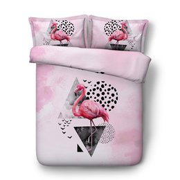$enCountryForm.capitalKeyWord Australia - Girls Flamingo Print Duvet Cover Set For Kids Teens Pink Animal Flower Green Leaf Bedding Set With Zipper Closure Tropical Comforter cover