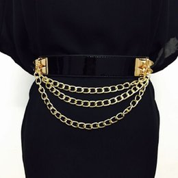 $enCountryForm.capitalKeyWord NZ - Punk Gold Chain Belt Women Dress Litchi Pattern Buckle Free Elastic Belts Corset Ladies Pu Leather Waistband