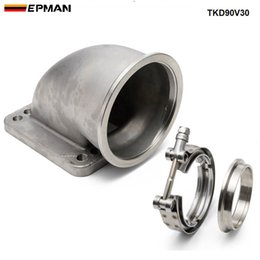 "$enCountryForm.capitalKeyWord Australia - EPMAN 1 set 3"" Vband 90Degree SS Cast Turbo Elbow Adapter Flange+Clamp For T3 T4 Turbocharger TKD90V30"