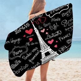 heart blanket UK - France Paris Tower Beach Towel Black and White Bath Blanket Romantic Letters Heart Print Shower Towel serviette