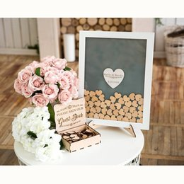 signed books NZ - 2019 Drop Box Guest Book Wedding Wooden Drop In Hearts Sign Book Unique Alternative Wedding Guest Book Frame White Central Heart