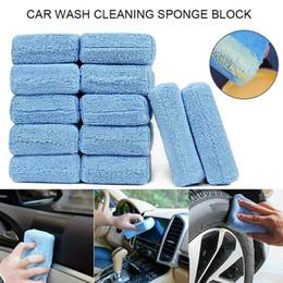 $enCountryForm.capitalKeyWord Australia - 12pcs Microfiber Car Wash Cleaning Waxing Polishing Block Blue Sponge Car Care Cleaning Maintenance Accessories #809
