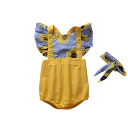 Ingrosso Tute Summer Baby manica corta Set manica volanti Sundial Tuta creeping Lace Soft Ventilate Colorate colorate Quick Drying 23xa C1