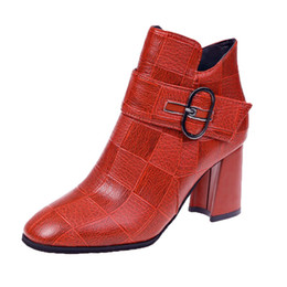 side zip shoes NZ - Women's Side Zipper Ankle Bare Boots Square Heel Casual Short Tube Booties Female Leather Botas Mujer Platform Waterproof Shoes
