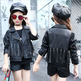 fashion kids jacket korean Canada - Autumn Baby Girls Fashion Leather Jacket Korean Children Clothes teenage girl Black Tassels Zipper Cardigan Coat Kids Outwear