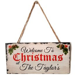 wall hanging signs Australia - Door Hanging Sign, Merry Christmas Wooden Plaque Board Door Wall Hanging Wood Sign Home Decoration