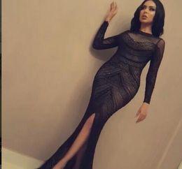 $enCountryForm.capitalKeyWord Australia - Evening dress Yousef aljasmi Labourjoisie Zuhair murad Trumpet High Collar Long Sleeve Black Tulle Split Front Side Long Dress James_paul