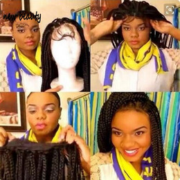 Discount brazilian crochet braiding hair - 200density brazilian hair box braids wig Synthetic Lace Front Wigs preplucked hairline Braided Twist Crochet Full Hair W