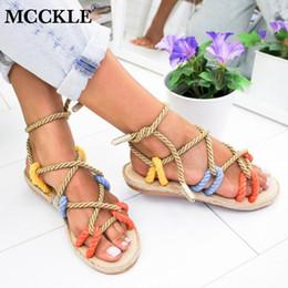 Lace Peep Toe Flats Australia - MCCKLE Summer Women Flat Sandals Peep Toe Cross Lace Up Female Platform Fashion Casual Retro Shoes Rome Ladies Footwear