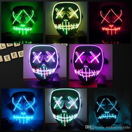 Scary Light Australia - Halloween Mask LED Light Up Funny Masks The Purge Election Year Great Festival Cosplay Costume Supplies Party Masks Glow In Dark DH203