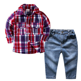 Lattice suits online shopping - Kids Boy Denim Suit Baby Lattice Shirt Sets Kids Designer Clothes Baby Boy Turn down Collar Long Sleeve Pocket Button Coat
