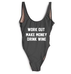 China Letter Printing One Piece Swimsuit Women Swimwear WORK OUT MAKE MONEY DRINK WINE High Cut Monokini Beachwear monokini trikini ywxk supplier wine money suppliers