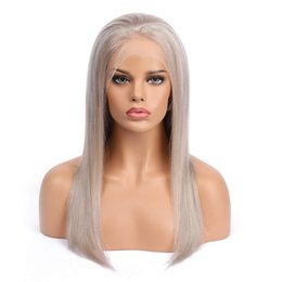 "gray lace front human hair wigs UK - 24"" Gray Full Lace Human Hair Wigs Straight Virgin Peruvian Remy Glueless Lace Front Human Hair Wig Pre Plucked for Women"