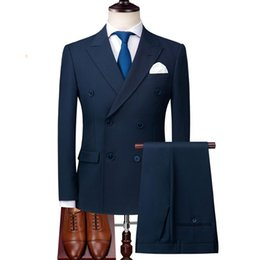 tuxedo green NZ - 2 Pieces Wedding Navy Blue Suit Men 2020 Slim Fit Italian Double Breasted Suits Mens Wedding Suits Tuxedo Formal Business Wear