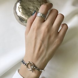 Daily Gifts Australia - 925 Sterling silver chain TO clasp bangle and chain design bracelet for women as gift and daily wearing