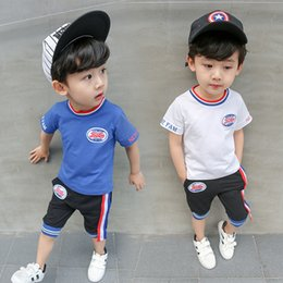 $enCountryForm.capitalKeyWord Australia - New summer baby casual sports suit boys fashion clothing suit short sleeve + shorts embroidery design simple trend 2 color free shipping