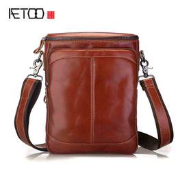 1abe19e0e0 BJYL Leather men s shoulder bag vertical section leisure men s Messenger bag  head layer of leather