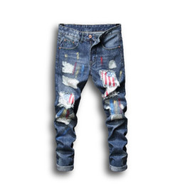 джинсы размер hot оптовых-Mens Jeans Summer Fashion Style Street Wear Painted Printing Hole Patch Hot Sale Asian Size