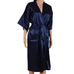 Wholesale sexy man s robes for sale - Group buy Navy Blue Men Sexy Silk Rayon Kimono Bathrobe Gown Chinese Style Male Robe Nightgown Sleepwear