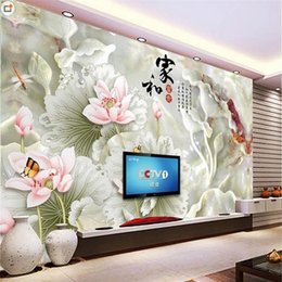 $enCountryForm.capitalKeyWord Australia - custom size 3d photo wallpaper living room 3d wall mural Lotus Jade Carving Chinese 3d picture sofa TV backdrop wallpaper non-woven sticker