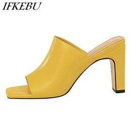 40658b8877831 High Heels Slippers Woman Mules Shallow Pointed Toe Sandals Summer Chunky Heel  Slides Peep Toe Shoes 2019 Luxury Sandalias Mujer