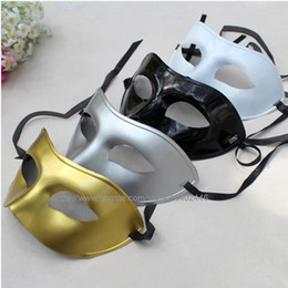 Gold Full Face Mask NZ - 100pcs Men's Ball Mask Fancy Dress Up Party Ball Venetian Masquerade Masks Plastic Half Face Mask Black White Gold Silver Color