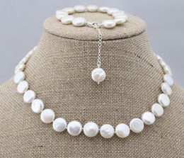 $enCountryForm.capitalKeyWord Australia - Prett Lovely Women's Wedding charm Jew.656 Fashion genuine natural coin freshwater pearl necklace&bracelet 1 set