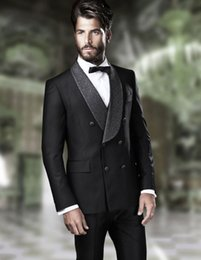 designer tuxedos men NZ - 2020 Designer Black Groom Tuxedos Mens Wedding Suits Shawl Lapel Man Blazer Jackets Two Pieces Groomsmen Evening Prom Party Gowns