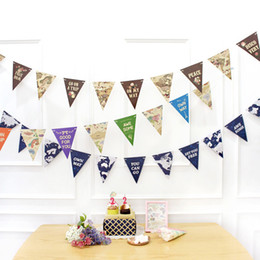 Discount banner string - Fashion Map Bunting Colorful World Map Hanging Banner Printed Triangles String Flag Home Party Decor Supplies 15*18.5cm