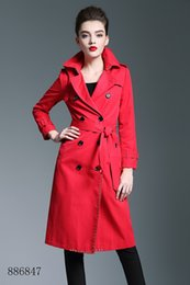 Double Shirt Designs Australia - Fashion Classic women long trench coat jacket red Double Breasted Coat Jackets Trench Coats Wear Dresses Blouses Shirts T-shirts