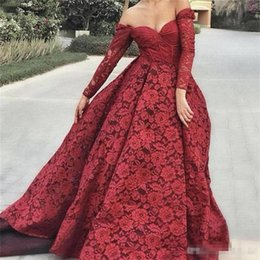 ElEgant two piEcE jackEt drEssEs online shopping - Elegant Long Sleeves Evening Dresses Off The Shoulder Exposed Boning Lace Prom Dress Lace Formal Wear Plus Size Party Gowns Vestidos
