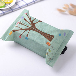 Discount tissue cloth bag - Universial Cartoon Cloth Car Seat Back Hanging Case Table Home Tissue Case Box Container Towel Napkin Papers Bag Conveni