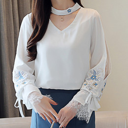 Korean Style Women Blouse Spring 2019 Autumn new blouses shirt embroidered lace sleeves long sleeved chiffon Fresh white 807A3